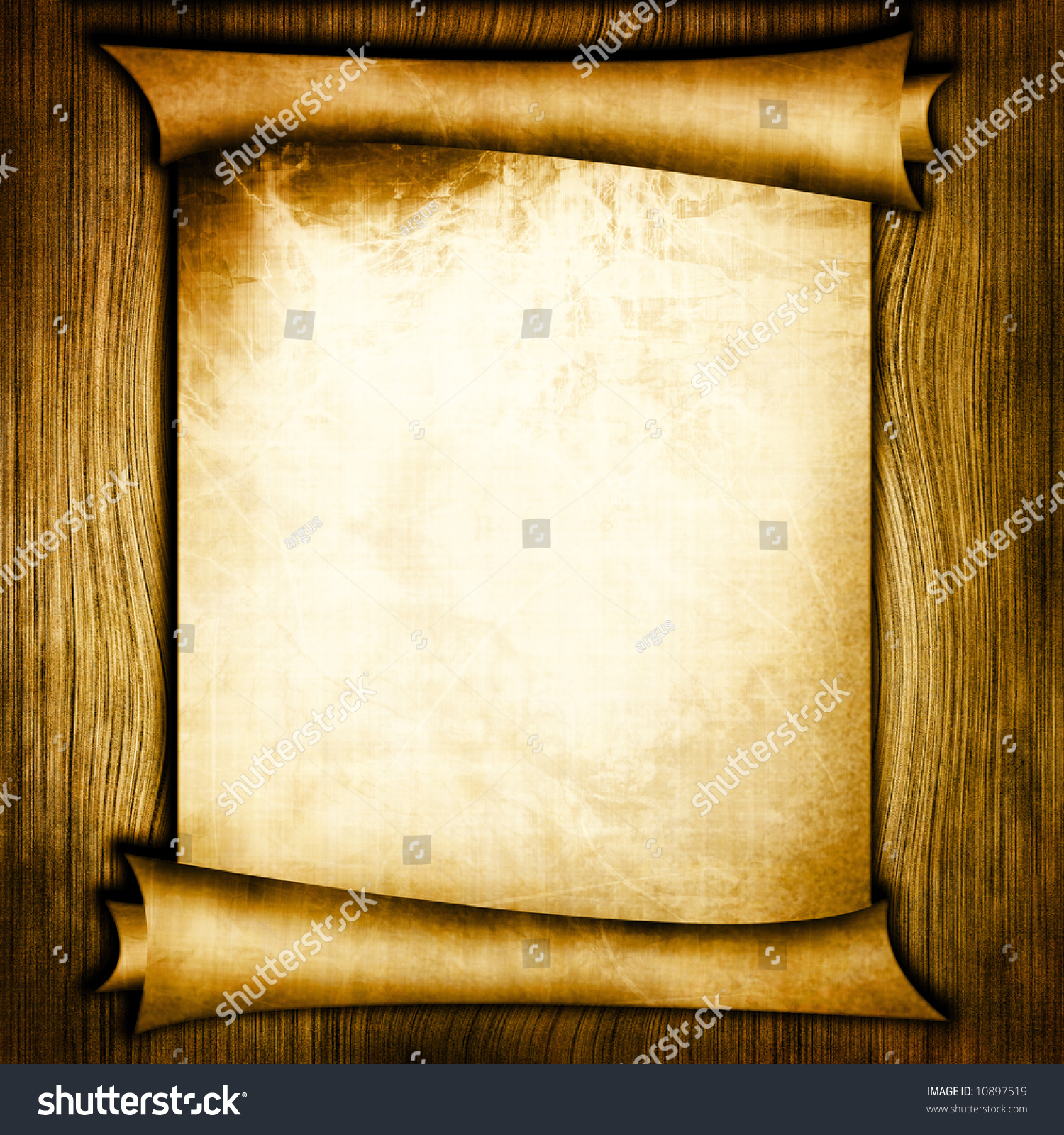 ancient scroll on wooden background stock photo 10897519