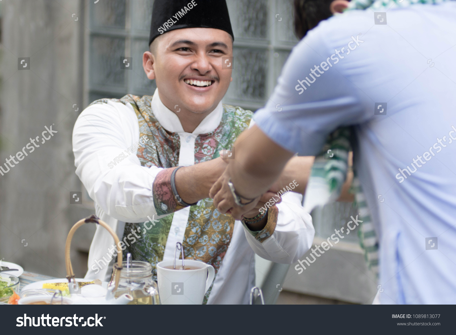 Two Muslim Man Greeting Each Other Stock Photo Edit Now 1089813077