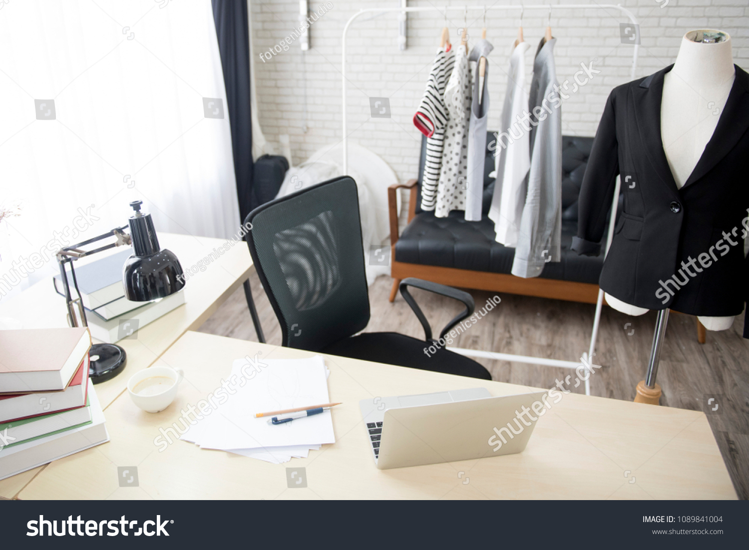 Interior Fashion Designer Working Office Space Beauty Fashion Stock Image 1089841004