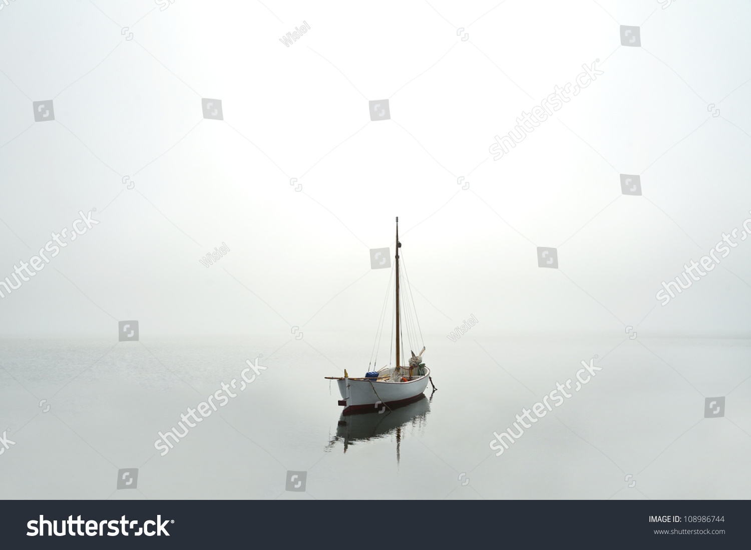 Boat on water near the coast #108986744