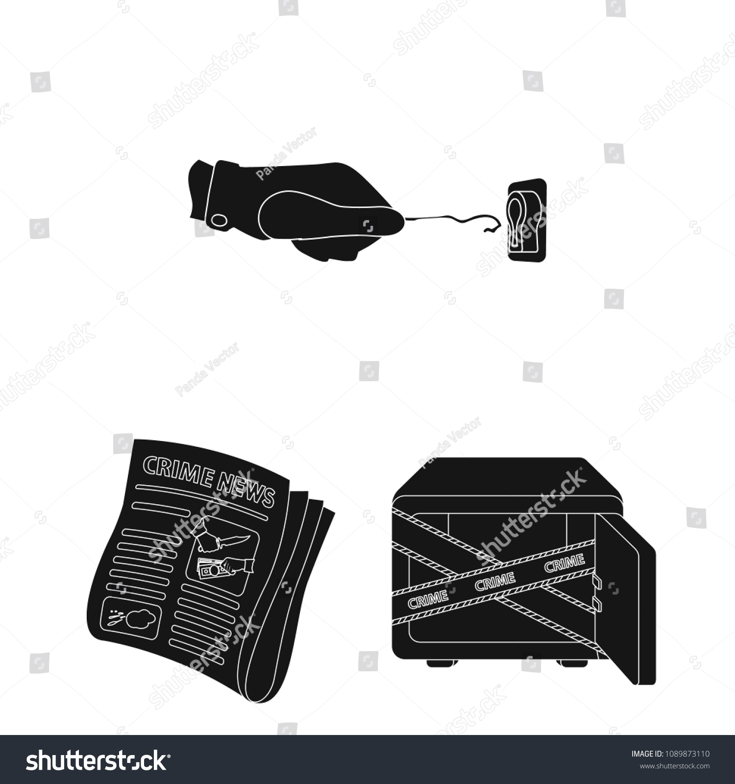 Detective Agency Black Icons Set Collection Stock Vector (Royalty