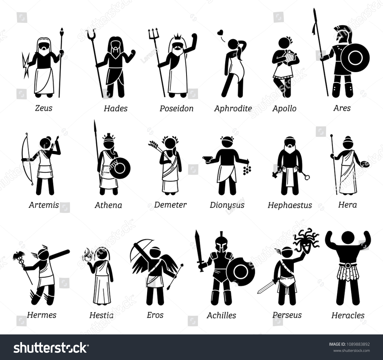 Ancient Greek Mythology Gods Goddesses Characters Stock