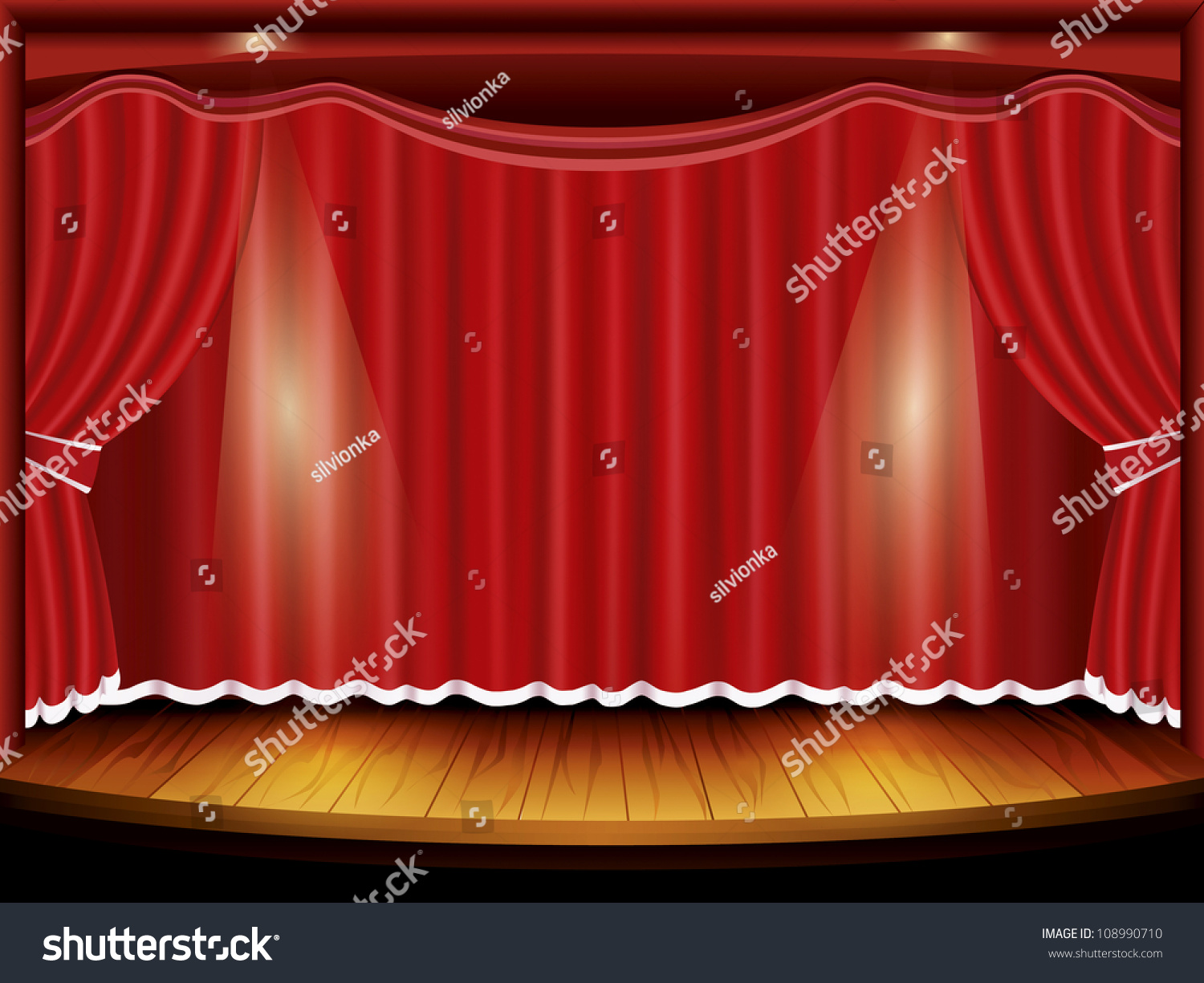 Red curtain spotlight - Theater Stage With Red Curtain And Spotlight Vector Illustration