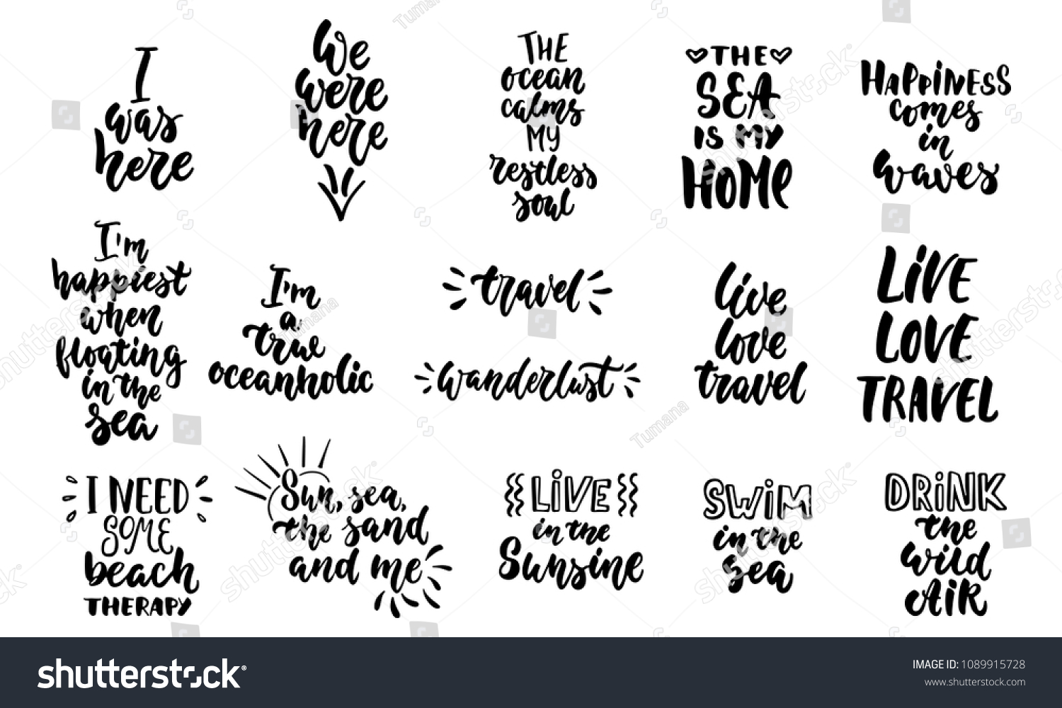 Hand Drawn Lettering Quotes About Summer Stock Vector Royalty Free