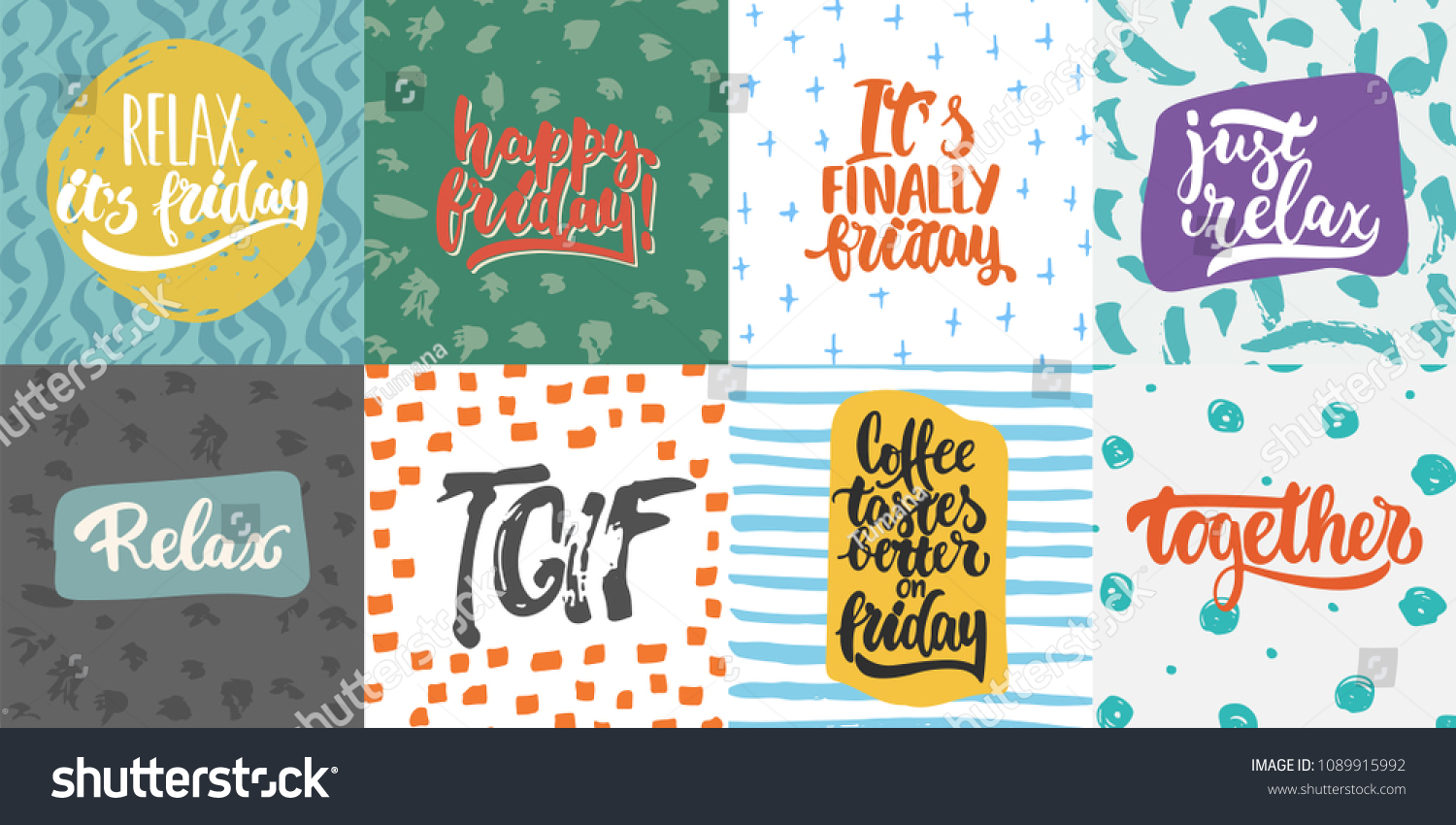 Hand Drawn Lettering Quotes Greeting Cards Stock Vector 1089915992