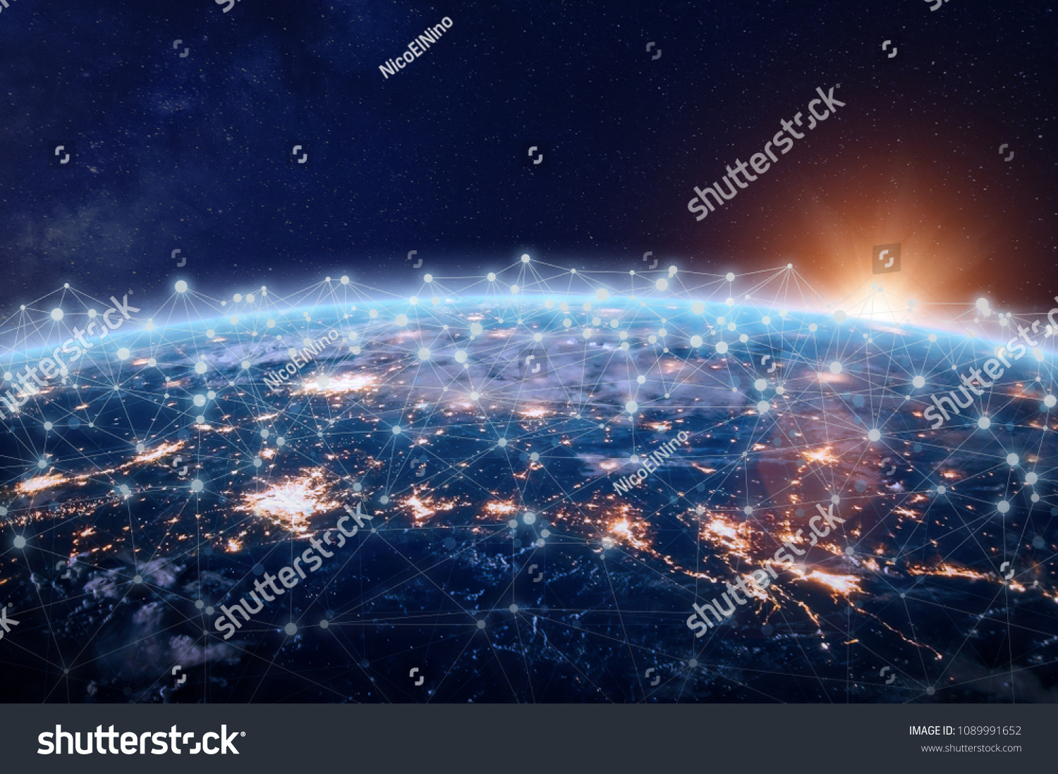 Global world telecommunication network connected around planet Earth, concept about internet and worldwide communication technology for finance, blockchain cryptocurrency or IoT, image from NASA #1089991652