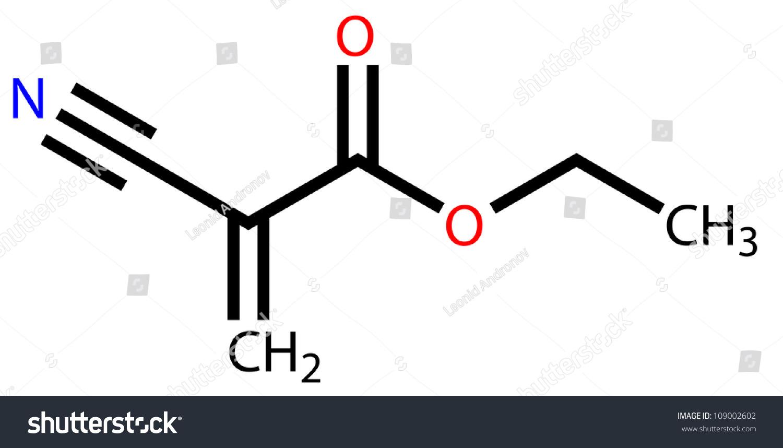 Ethyl Cyanoacrylate Instant Glue Structural Formula Stock ... Organic Acid Structural Formula