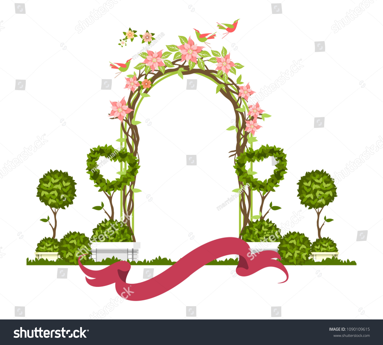Wedding Arch On White Background Plant Stock Vector Royalty Free 1090109615