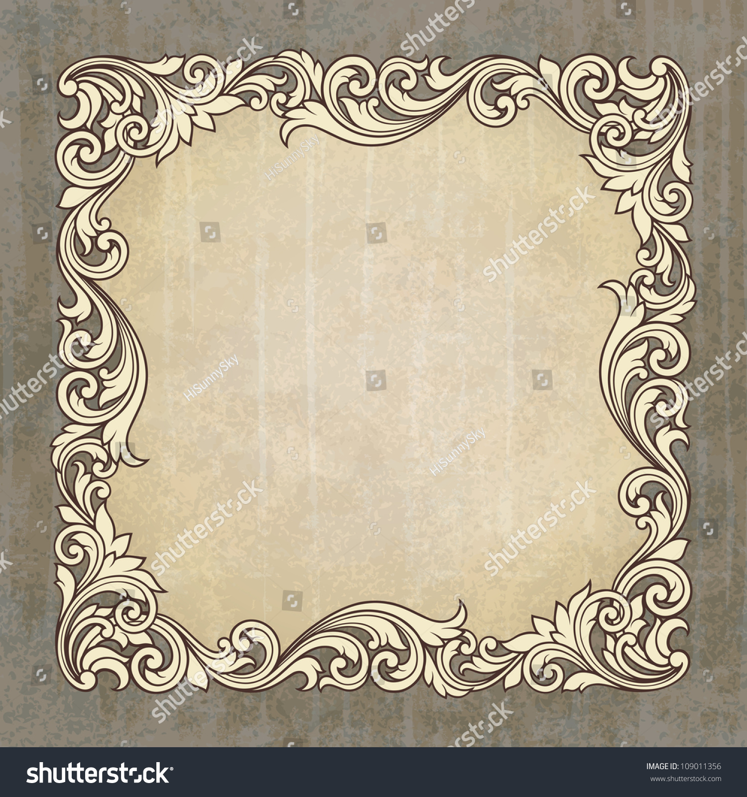 vector vintage border frame engraving at grunge background with retro ornament pattern in antique baroque style
