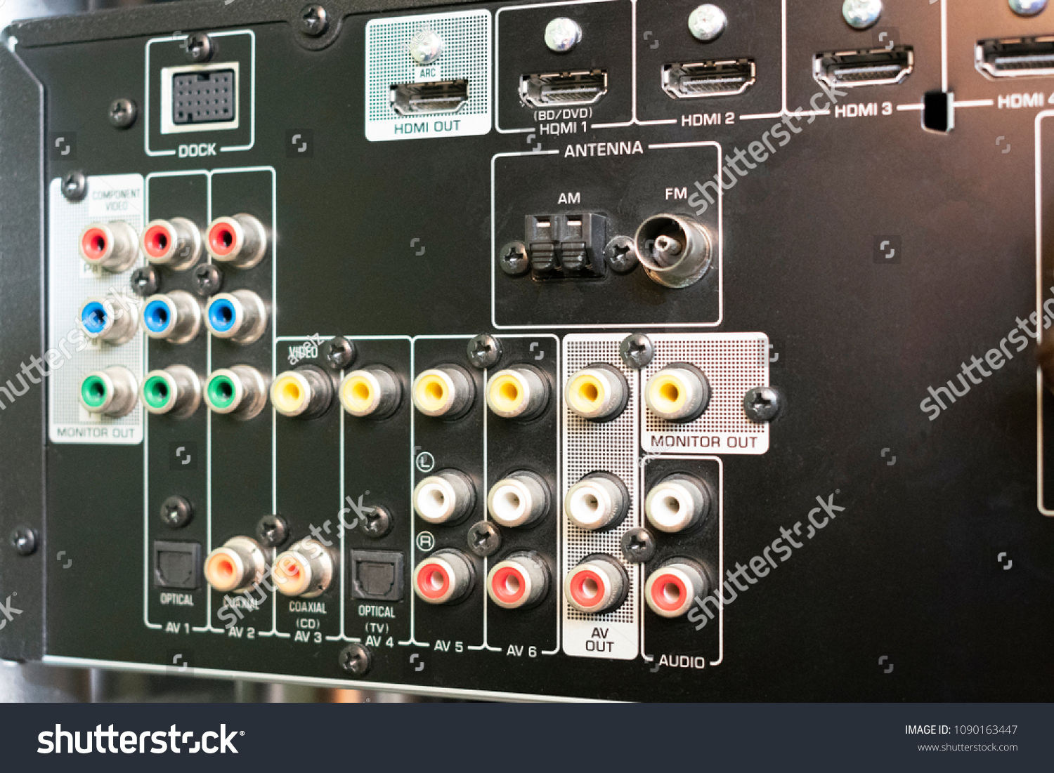Back Audio Receiver Video Home Theater Stock Photo Edit Now Wiring Panel Of For With Inputs Connecting Equipment And Output To