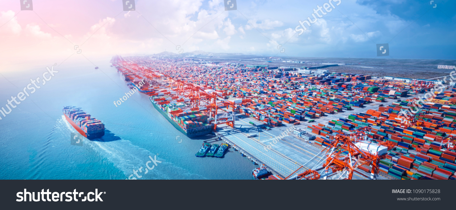 Container ship leaving the port,aerial view.