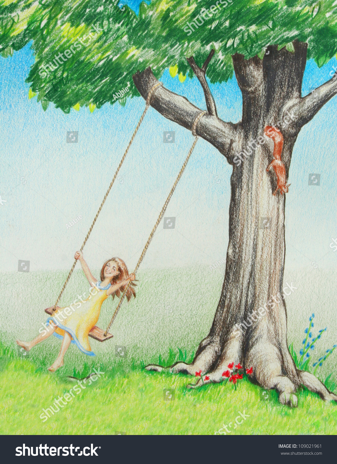 young female girl on tree swing stock illustration