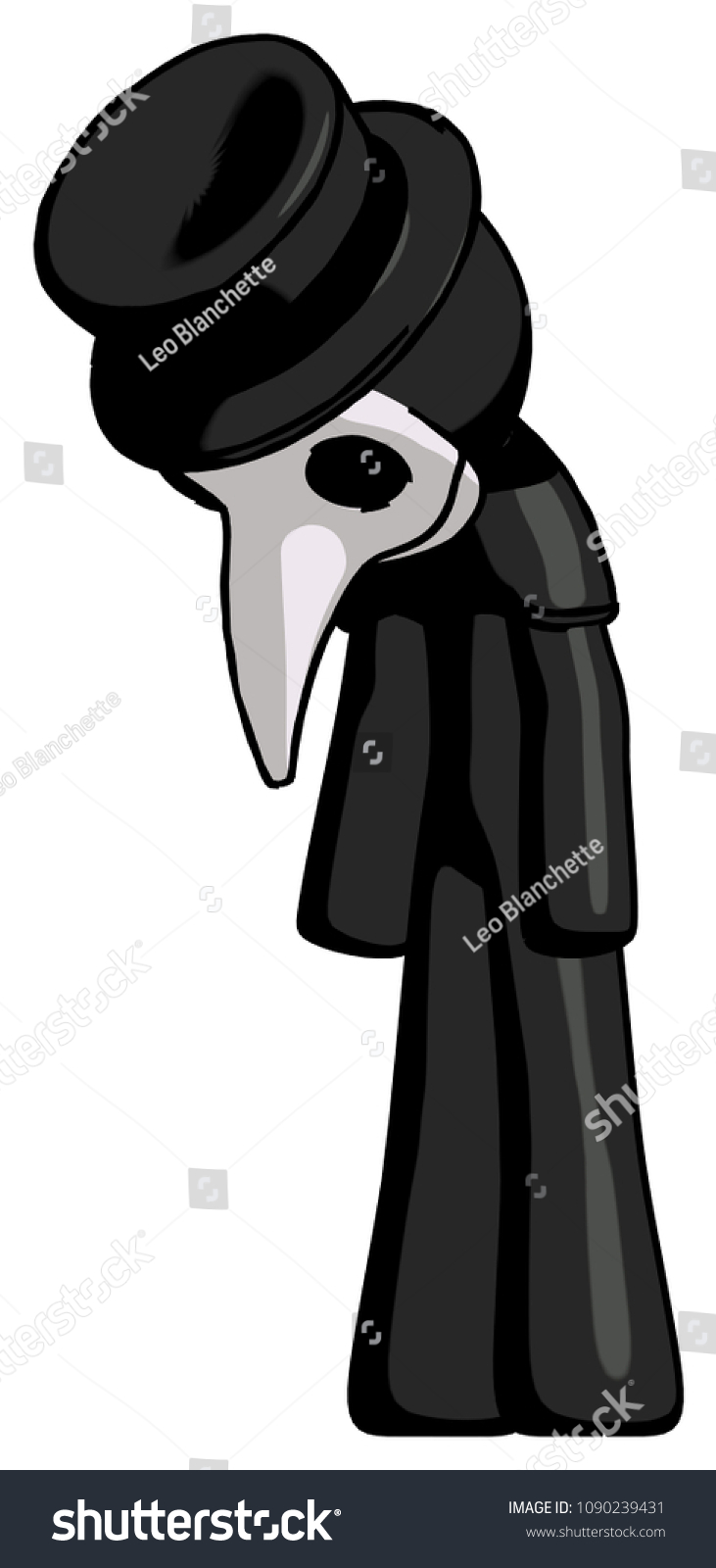 Royalty Free Stock Illustration Of Black Plague Doctor Man Depressed