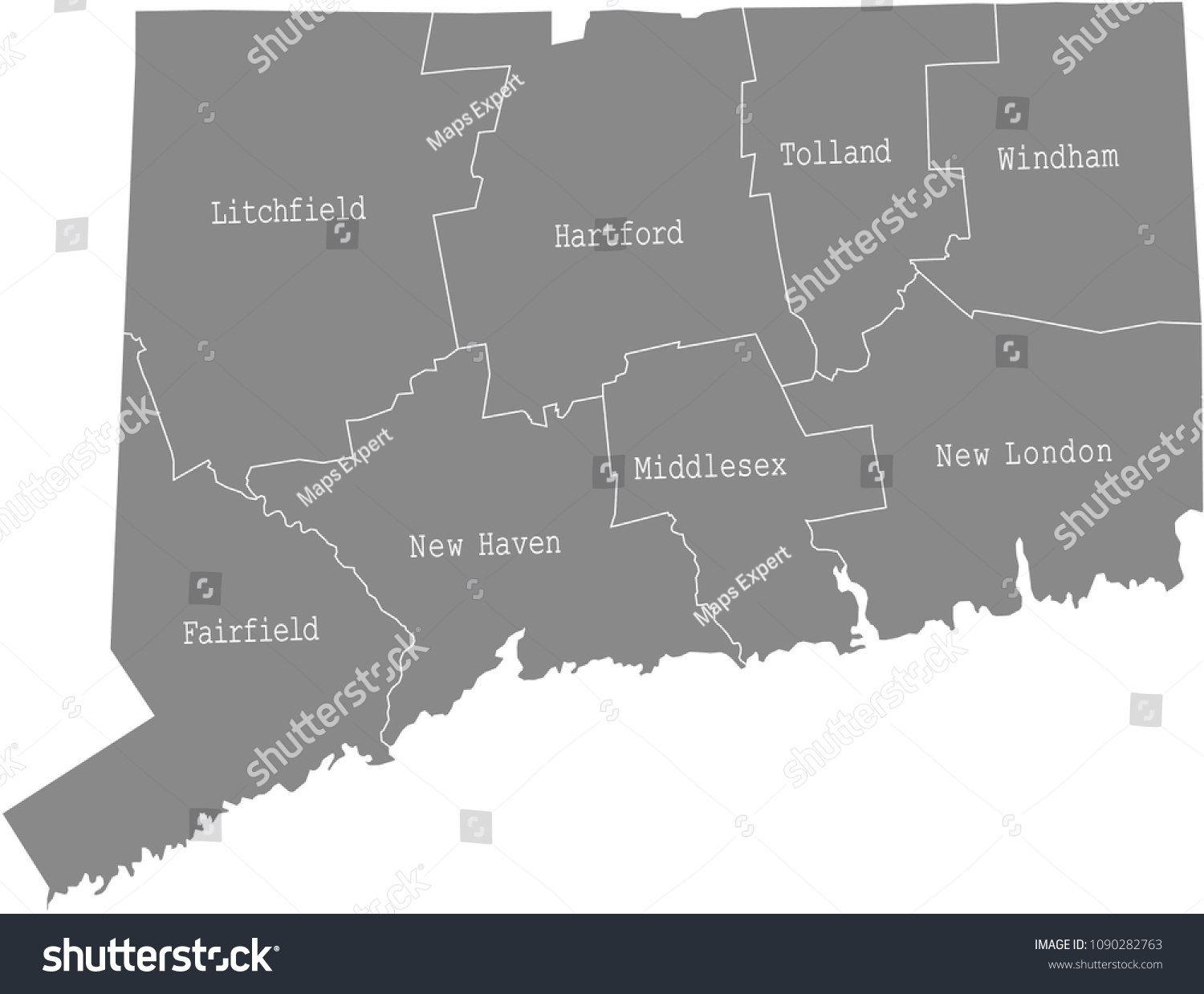 Connecticut County Map Vector Outline Gray Stock Vector 1090282763 ...