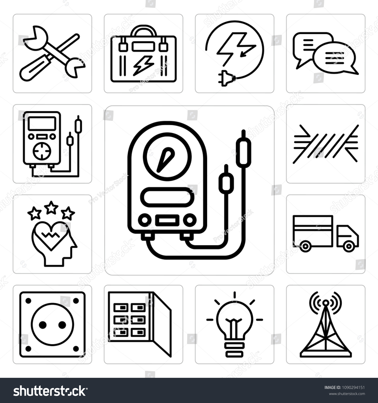 Set 13 Simple Editable Icons Such Stock Vector Royalty Free Fuse Box Mobile Of As Voltmeter Antenna Light Bulb