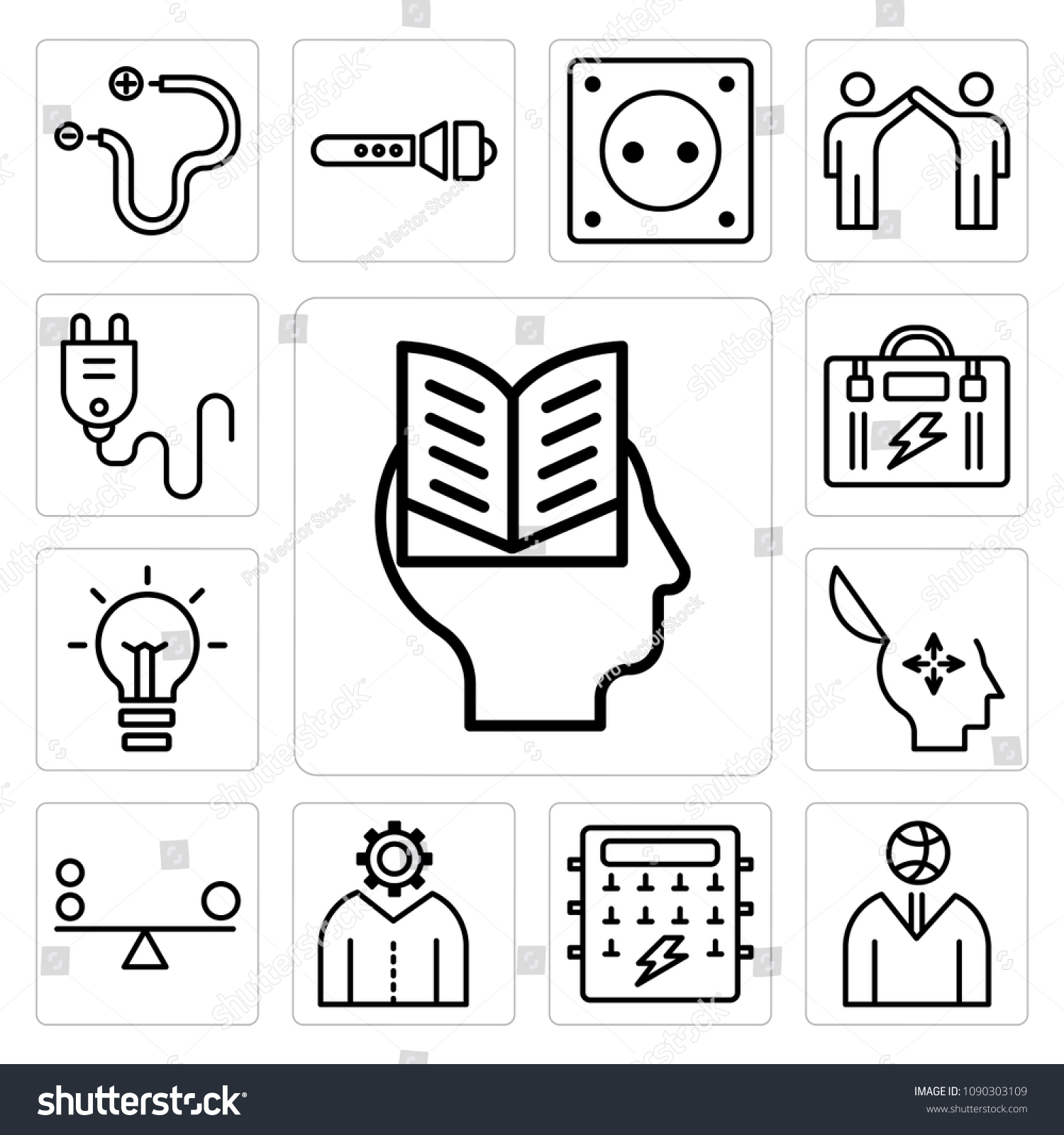 Set 13 Simple Editable Icons Such Stock Vector Royalty Free Fuse Box Of As Intellectual Ball Cognitive