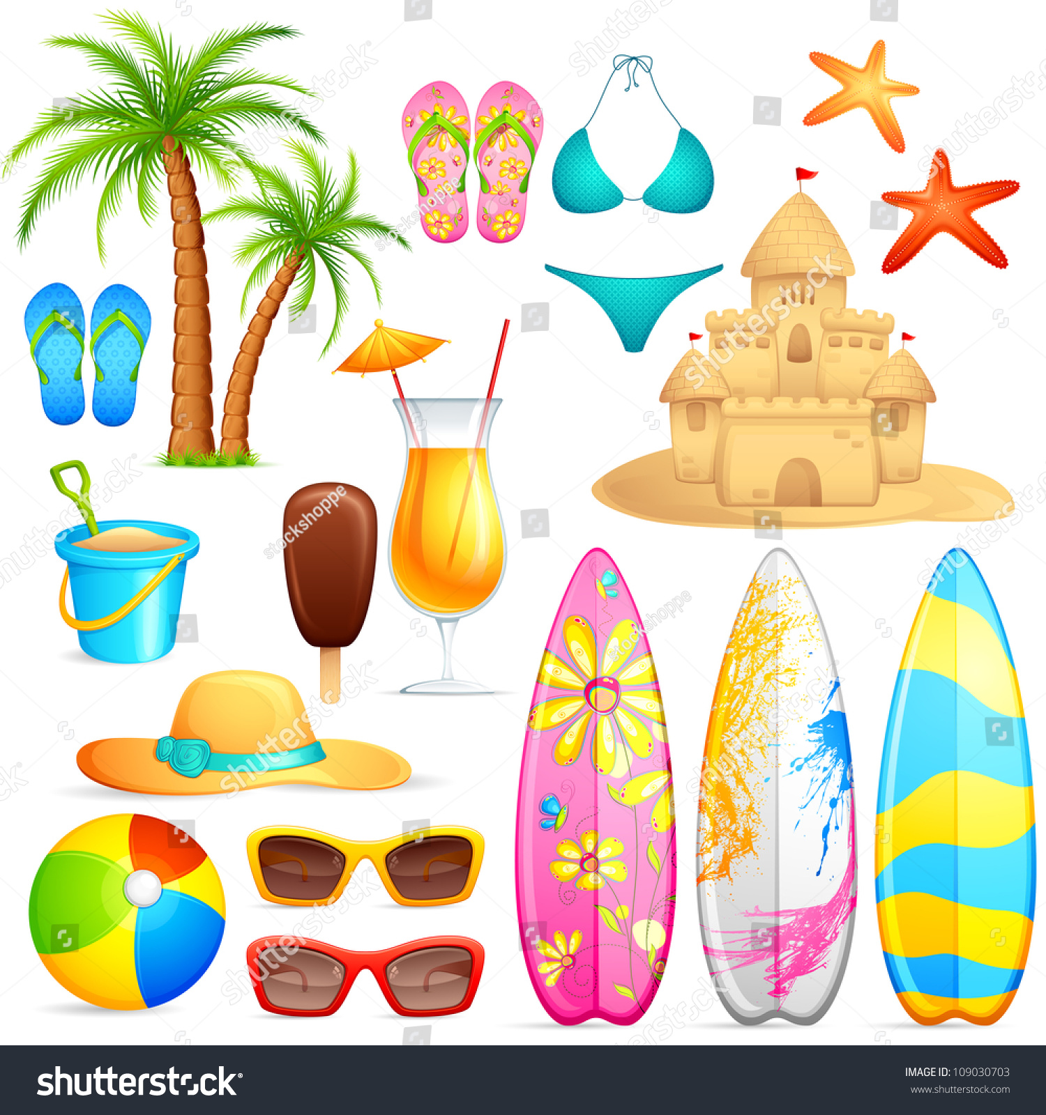 Vector Illustration Collection Sea Beach Object Stock ...