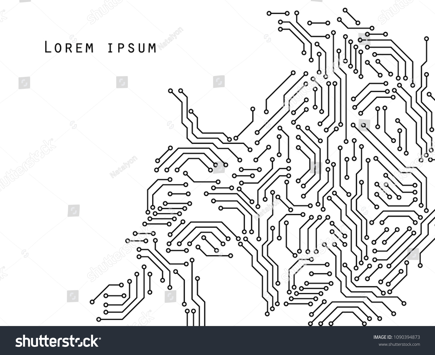 Printed Circuit Board Black White Computer Stock Vector Royalty Template And Technology Poster