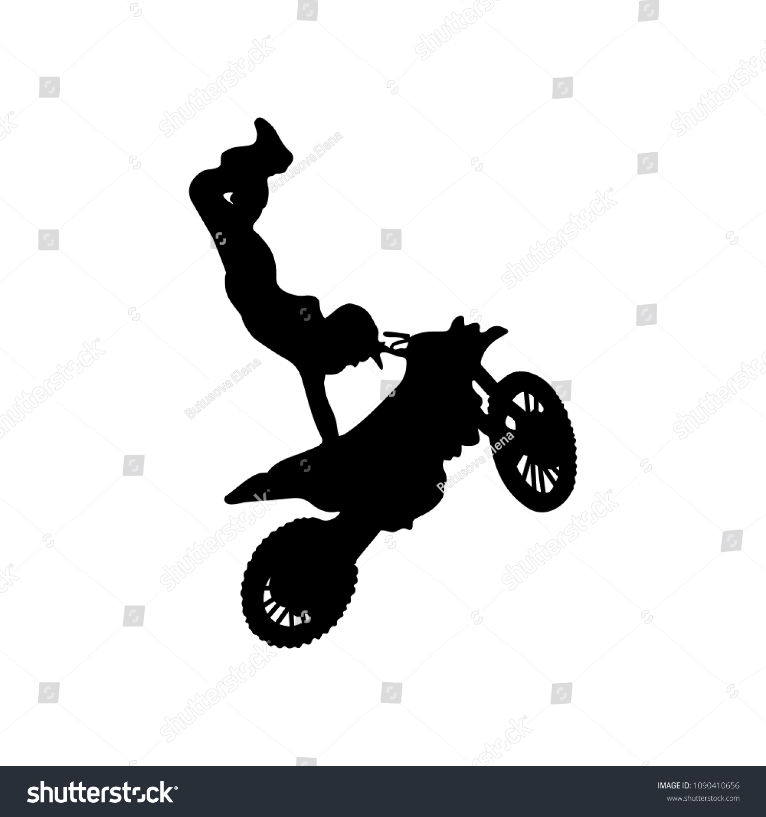 Isolated Silhouette Freestyle Motocross Trick Vector Stock Vector Royalty Free 1090410656