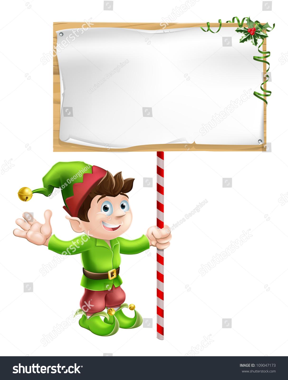 christmas elf pixie santas helper holding stock vector 109047173