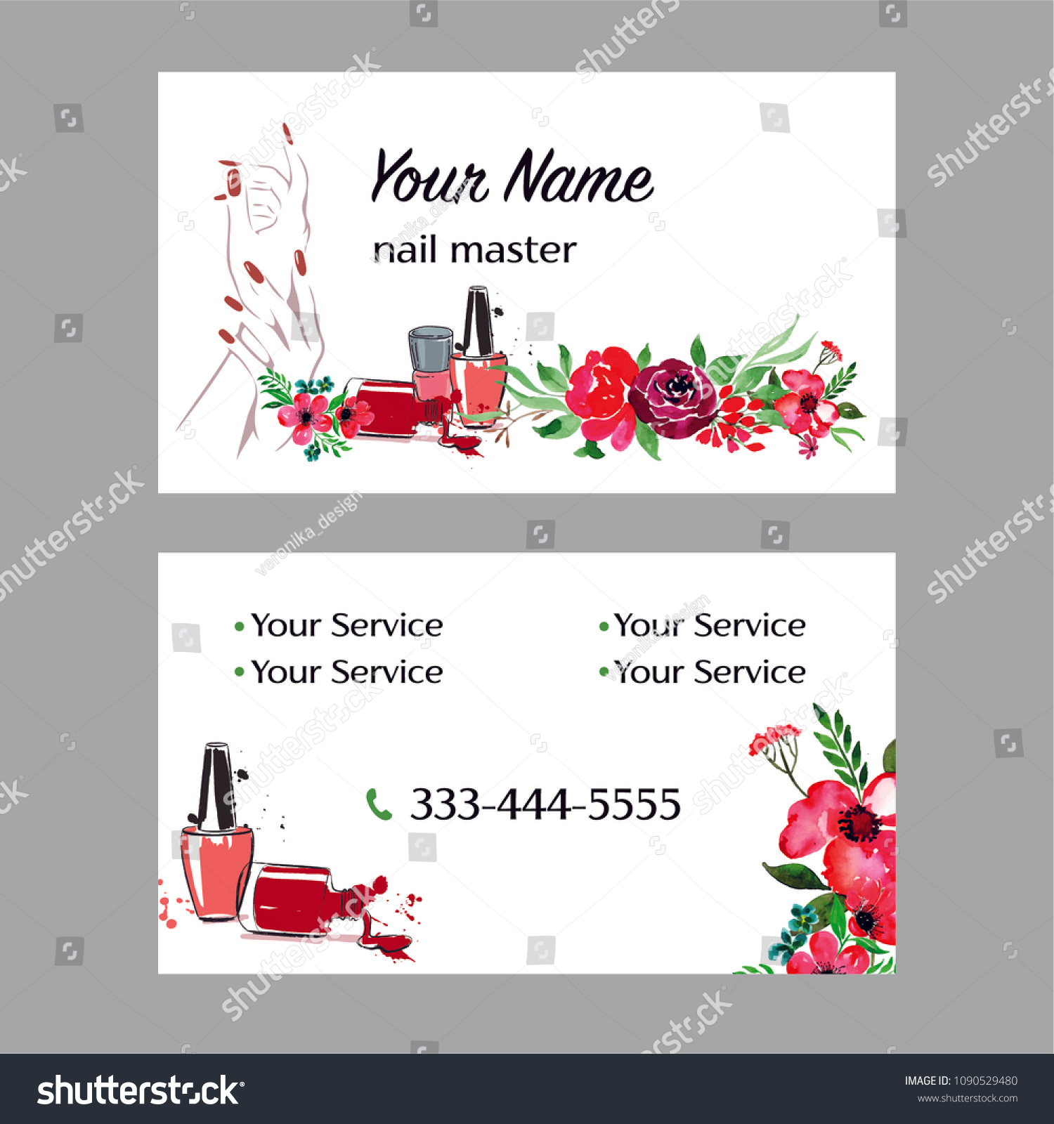 nail artist nail salon business card with hand manicure illustration - Nail Salon Business Cards