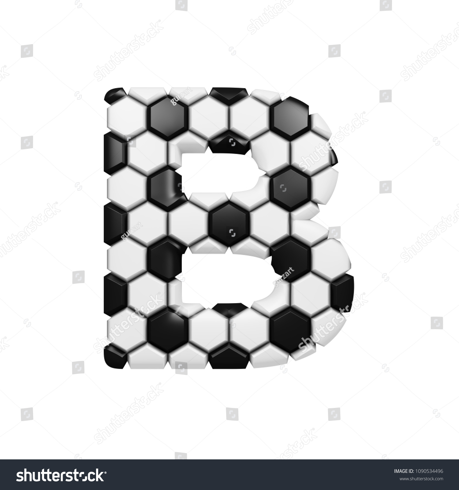 Letter b textured with 3d soccer balls realistic image for football championship sport competition