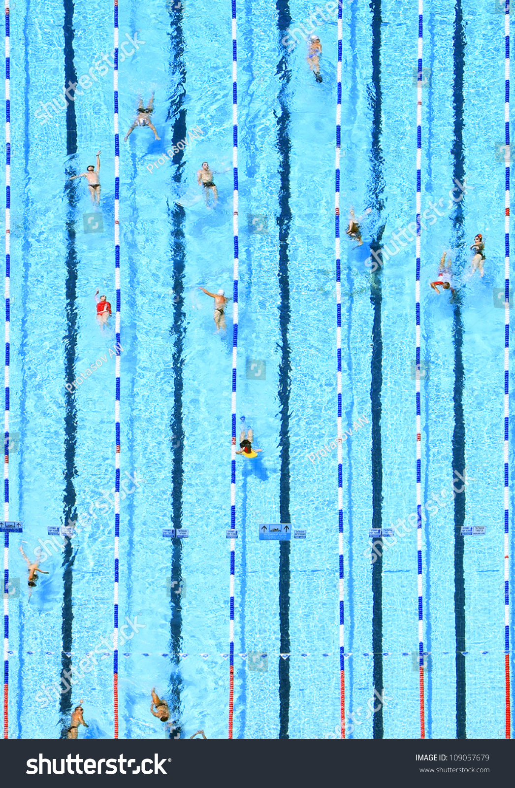 Top view on pool blue water stock photo 109057679 - How to make swimming pool water blue ...
