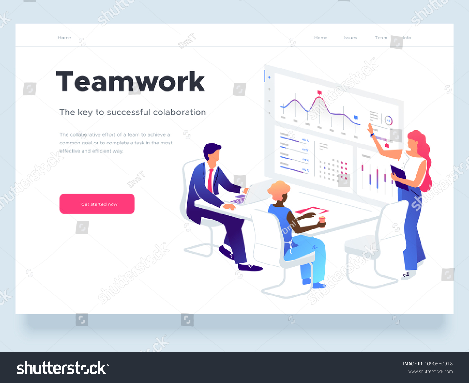 People work in a team and interact with graphs. Business, workflow management and office situations. Landing page template. 3d vector isometric illustration. #1090580918