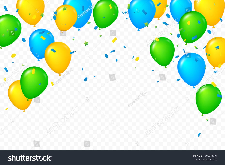 Celebration Happy Birthday Banner Colorful Confetti Stock Vector