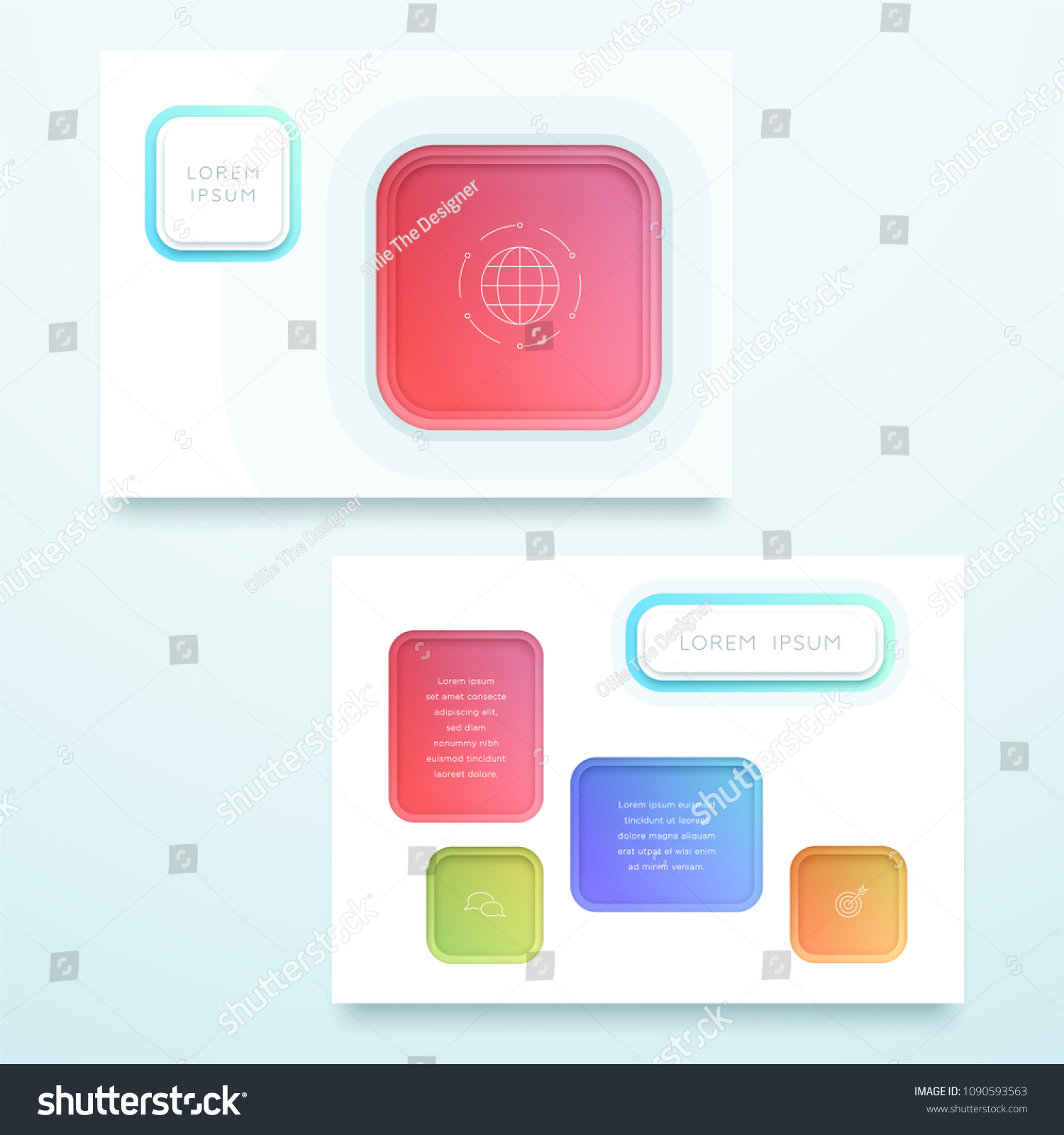 vector colorful 3 d square landscape page stock vector royalty free