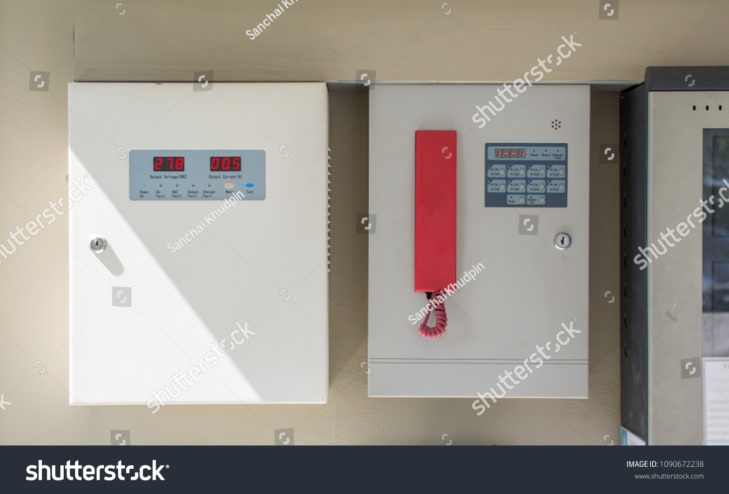 Two Metal Electricity Control Box Sign Stock Photo (Royalty Free ...