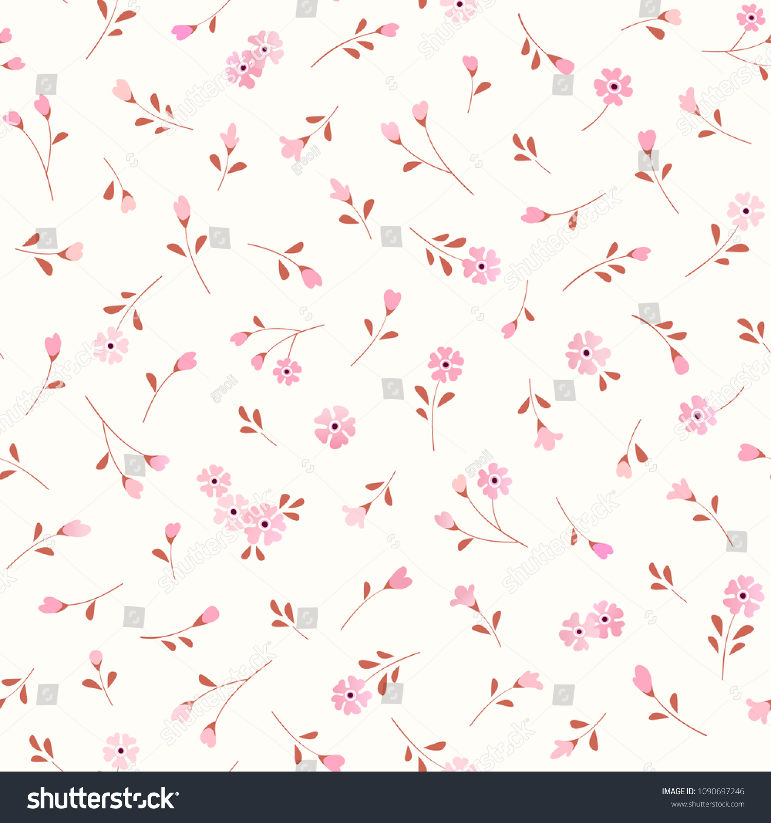 Seamless Floral Background Small Pink Flowers Stock Vector Royalty