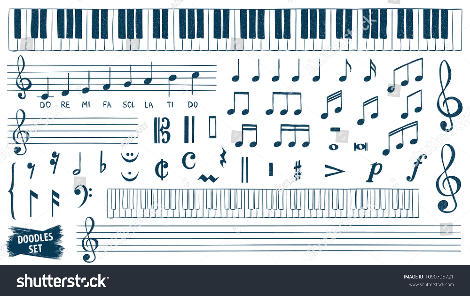 Music Notes Doodles Set Piano Keys Stock Vector Royalty Free Wallpaper Electric Guitar Plan Diagram Drawing Wallpapers Sketch Treble Clef Hand Drawn Detailed