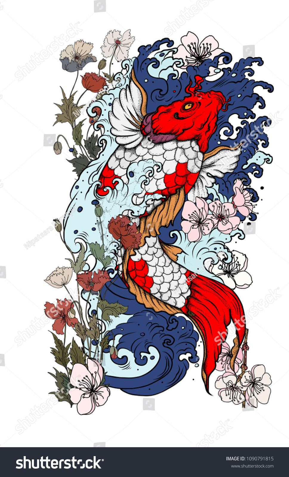 Koi Fish Tattoo Beautiful Color Traditional Japanese Stock Photo ...