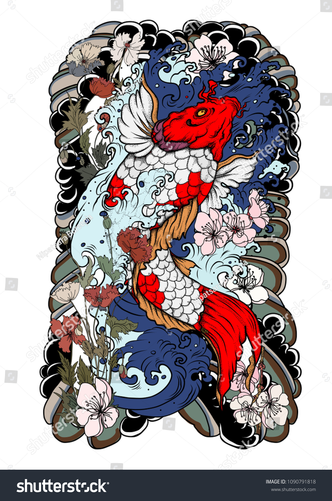 Koi Fish Tattoo Beautiful Color Traditional Japanese Stock Vector ...