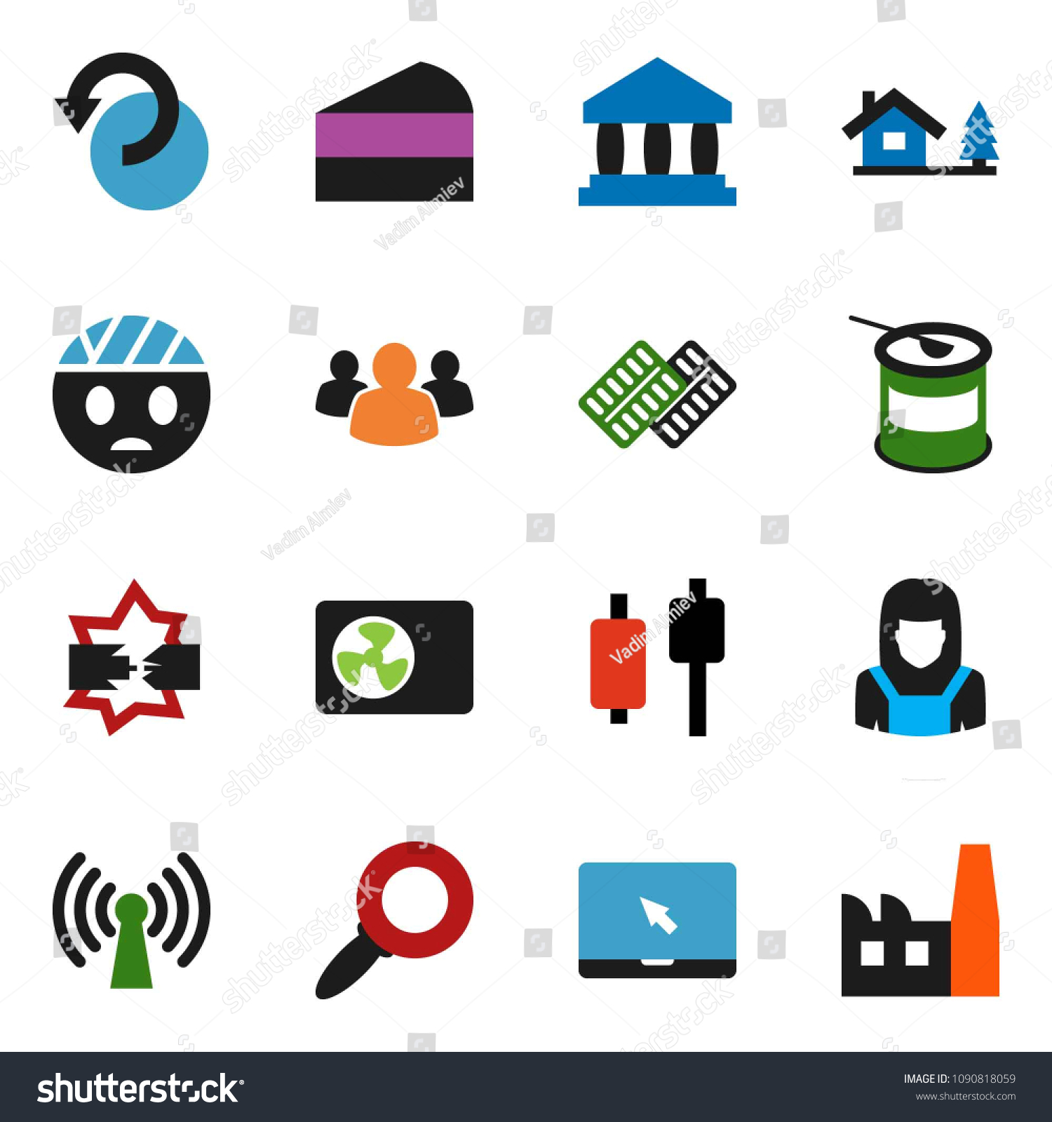 Solid Vector Icon Set Cleaner Woman Signs Symbols Stock Image