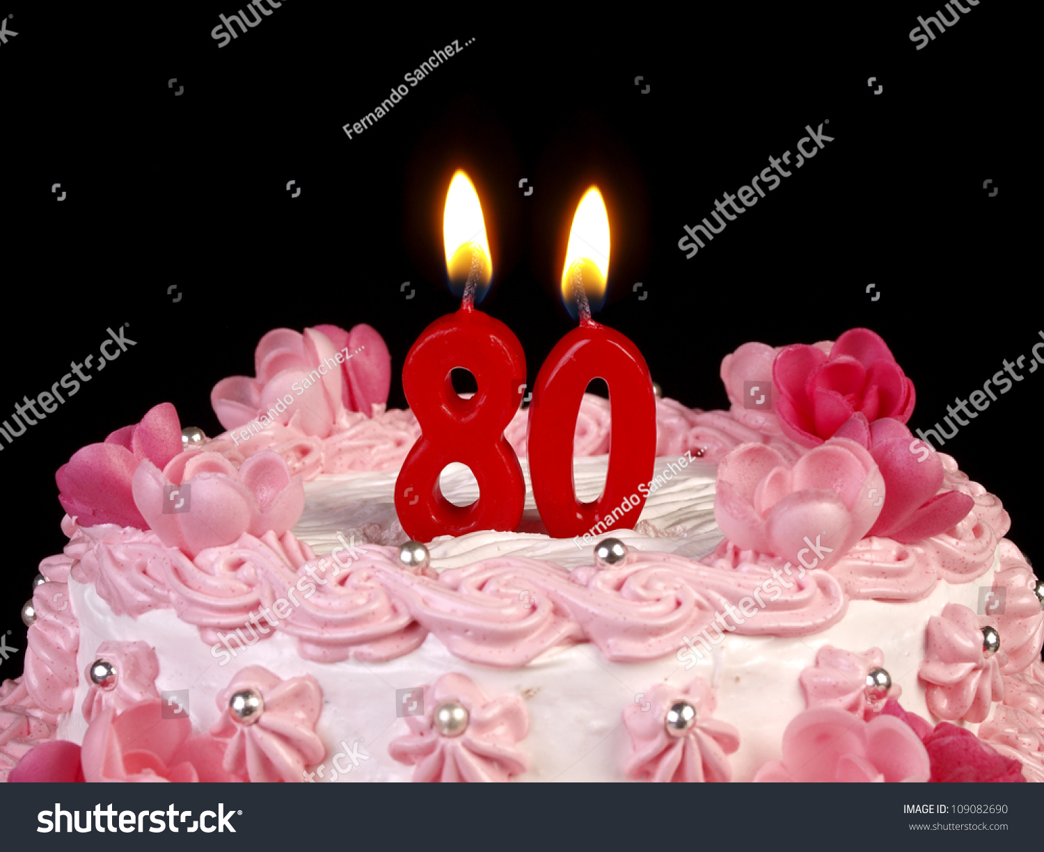 Birthday Cake Red Candles Showing Nr Stock Photo Edit Now
