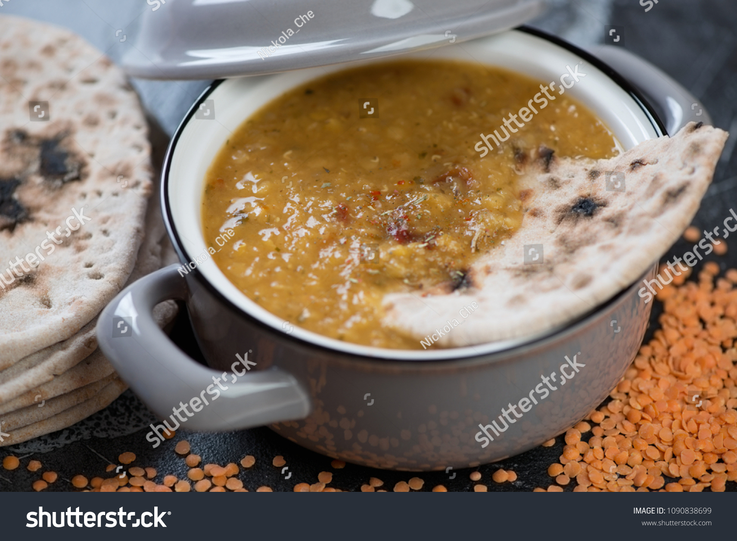 Closeup Pan Thick Indian Red Lentil Stock Photo Edit Now