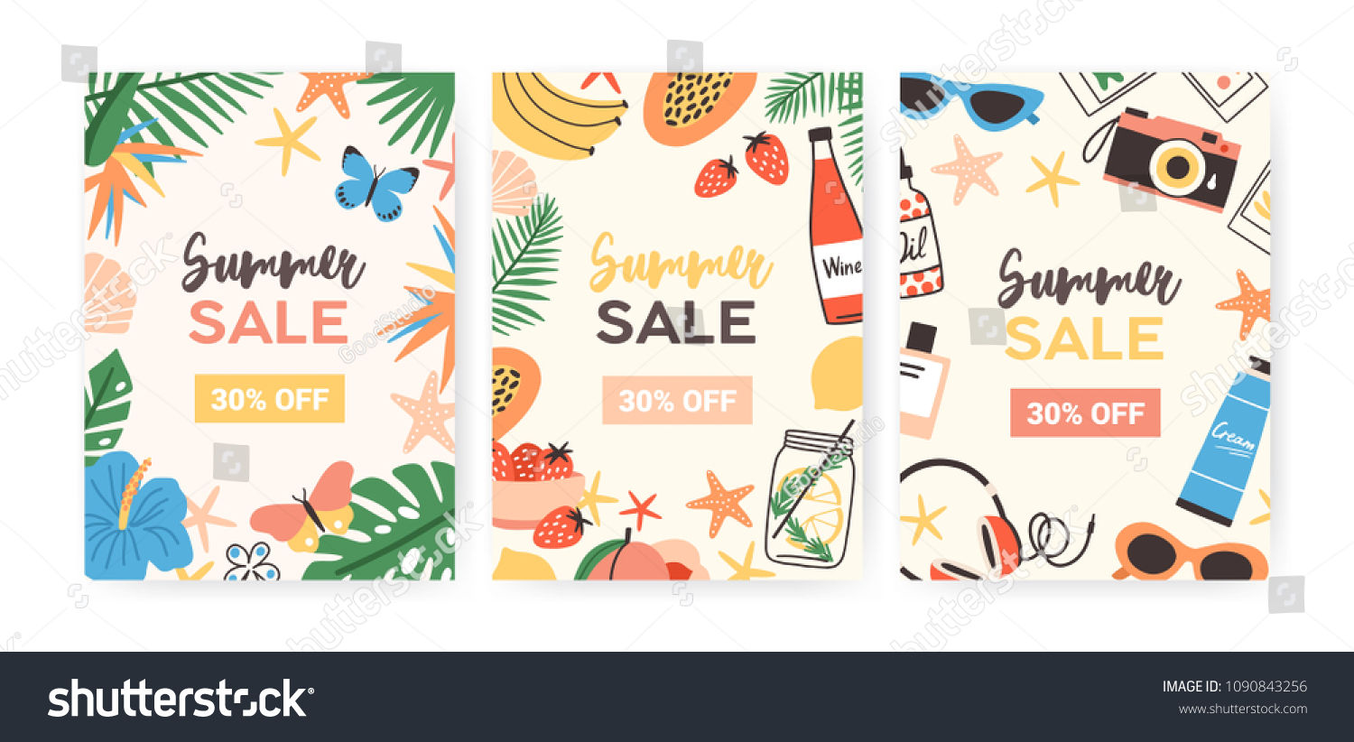 collection flyer templates summer sale promotion のベクター画像素材