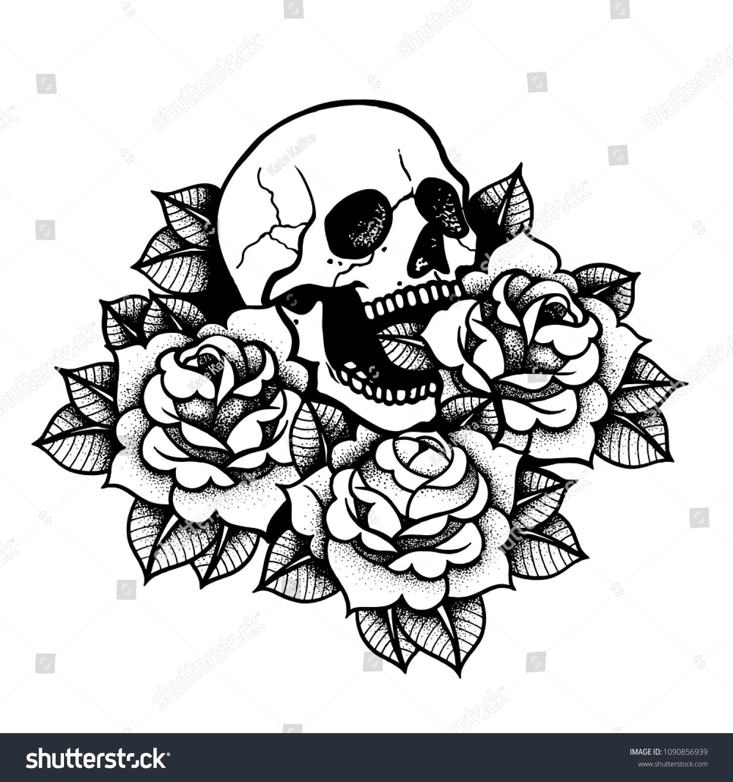 Rose Tattoo Skull Traditional Black Dot Stockvector Rechtenvrij