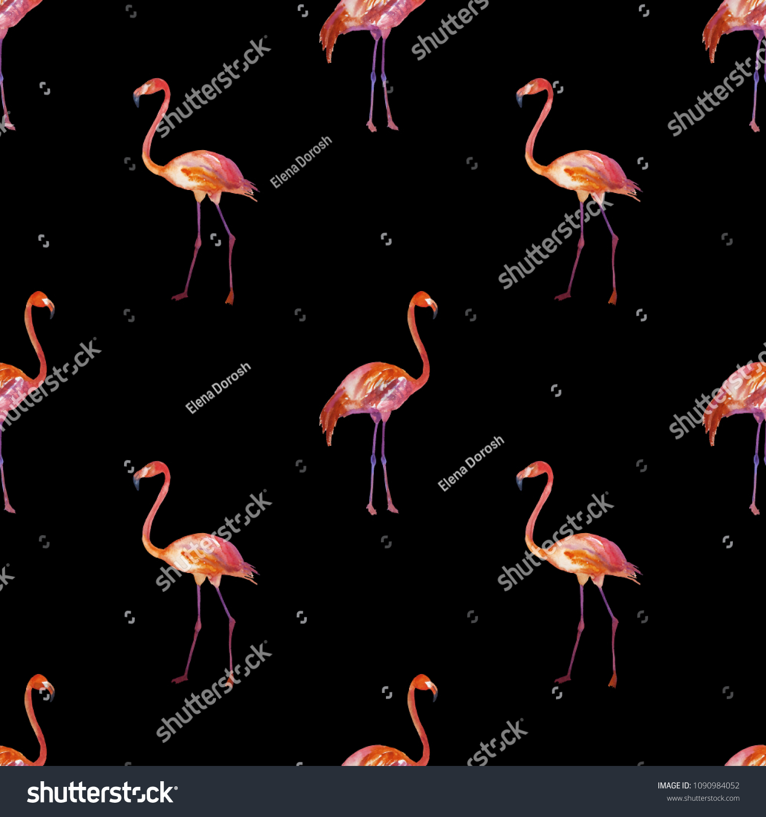 Flamingo Painted Watercolor Seamless Pattern Trendy Stock