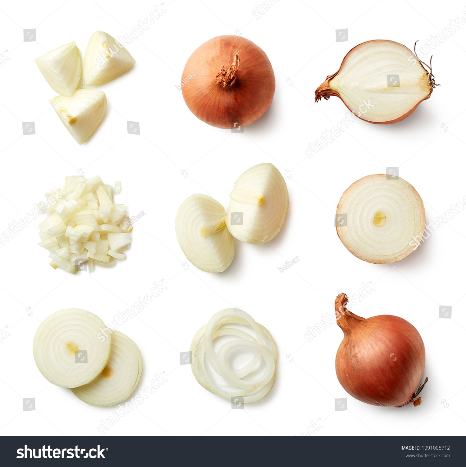 Set of fresh whole and sliced onions isolated on white background. Top view #1091005712
