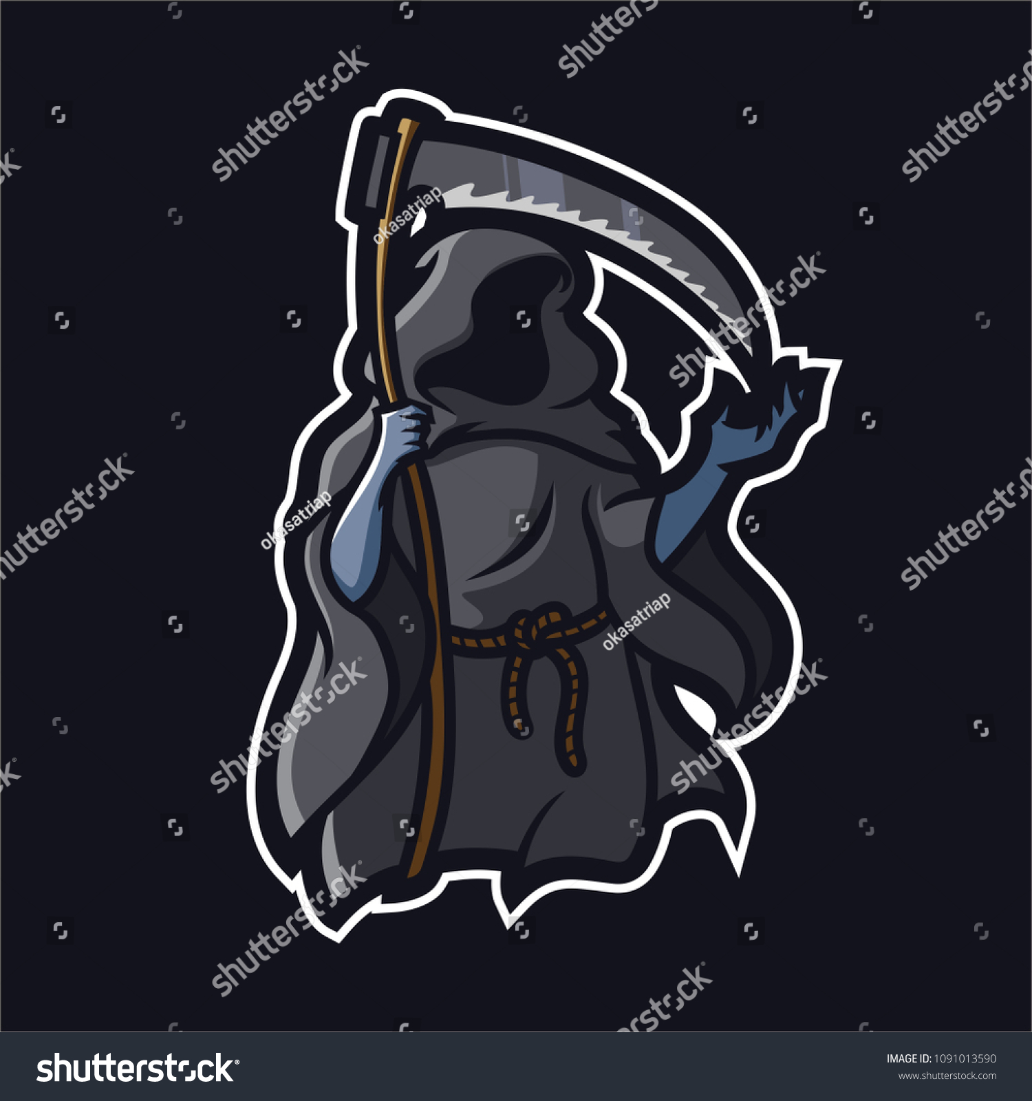grim reaperangel death esport gaming mascot stock vector royalty