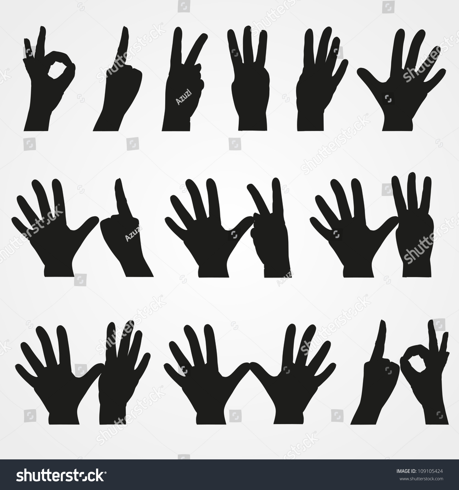 set illustrations numbers form hands 1 stock vector 109105424