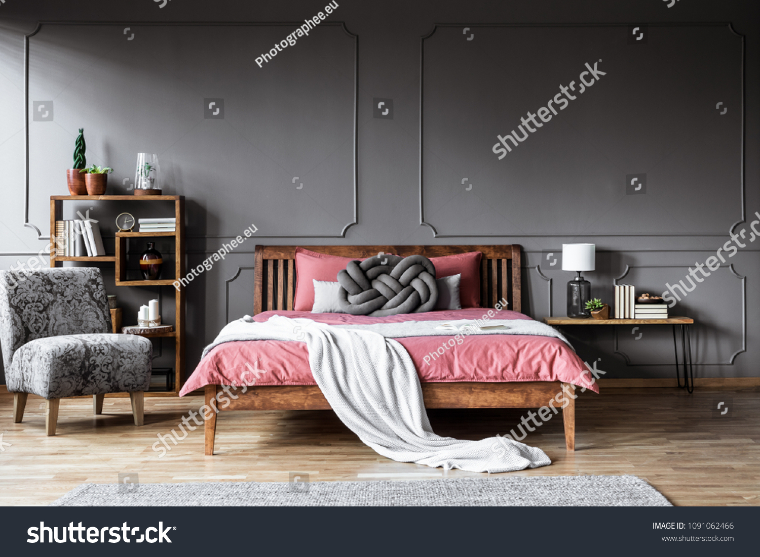 Patterned Armchair Next Wooden Bed Pink Stock Photo (Edit ...