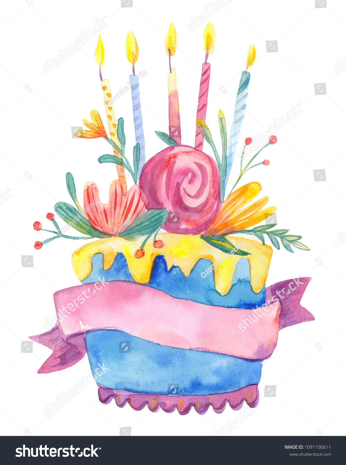 Watercolor birthday cake flowers candles isolated stock illustration watercolor birthday cake with flowers and candles isolated on white background hand drawn illustration with izmirmasajfo