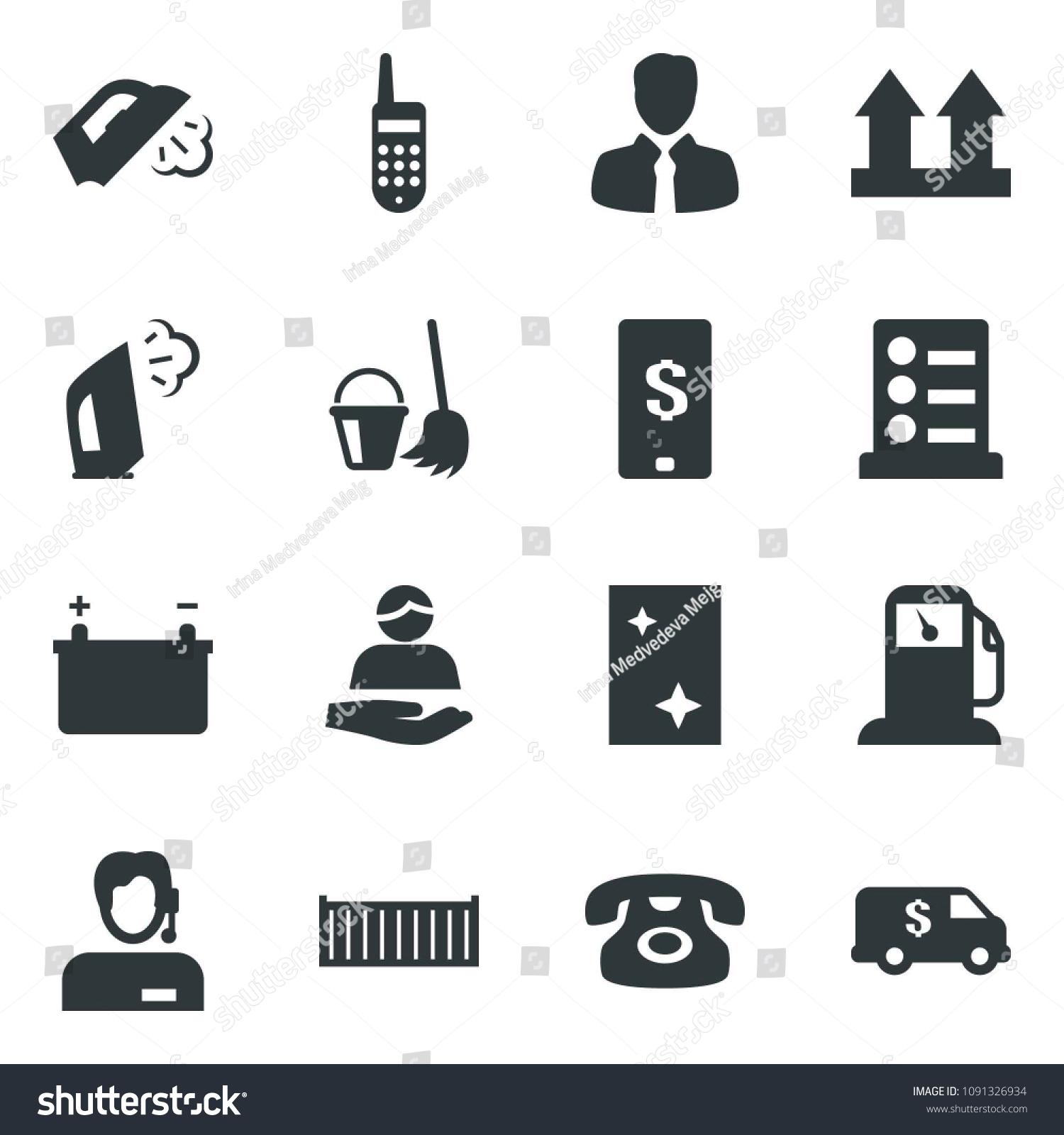 Black Vector Icon Set Phone Vector List Of Services Bucket And Broom Window