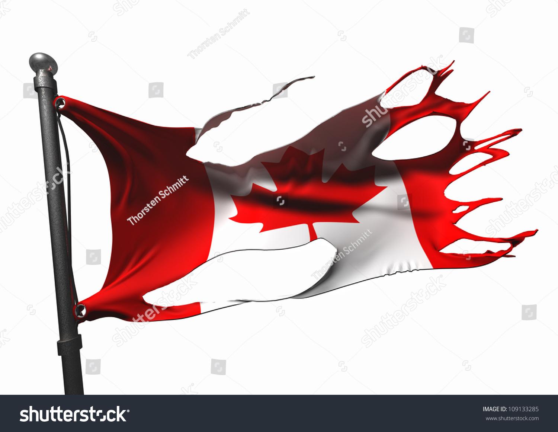 tattered canadian flag on white stock illustration 109133285