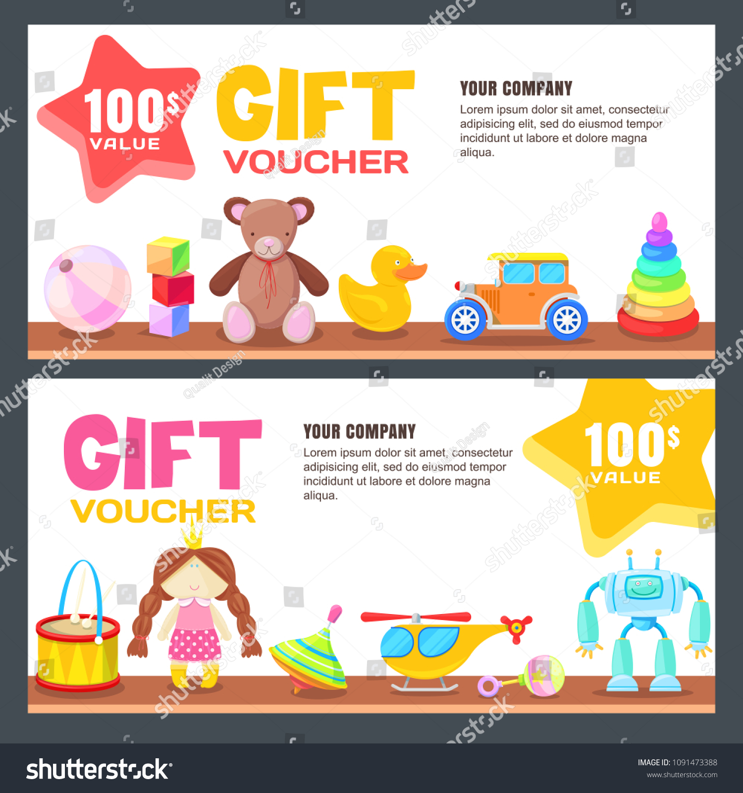 Gift Card Voucher Certificate Coupon Vector Stock Vector Royalty
