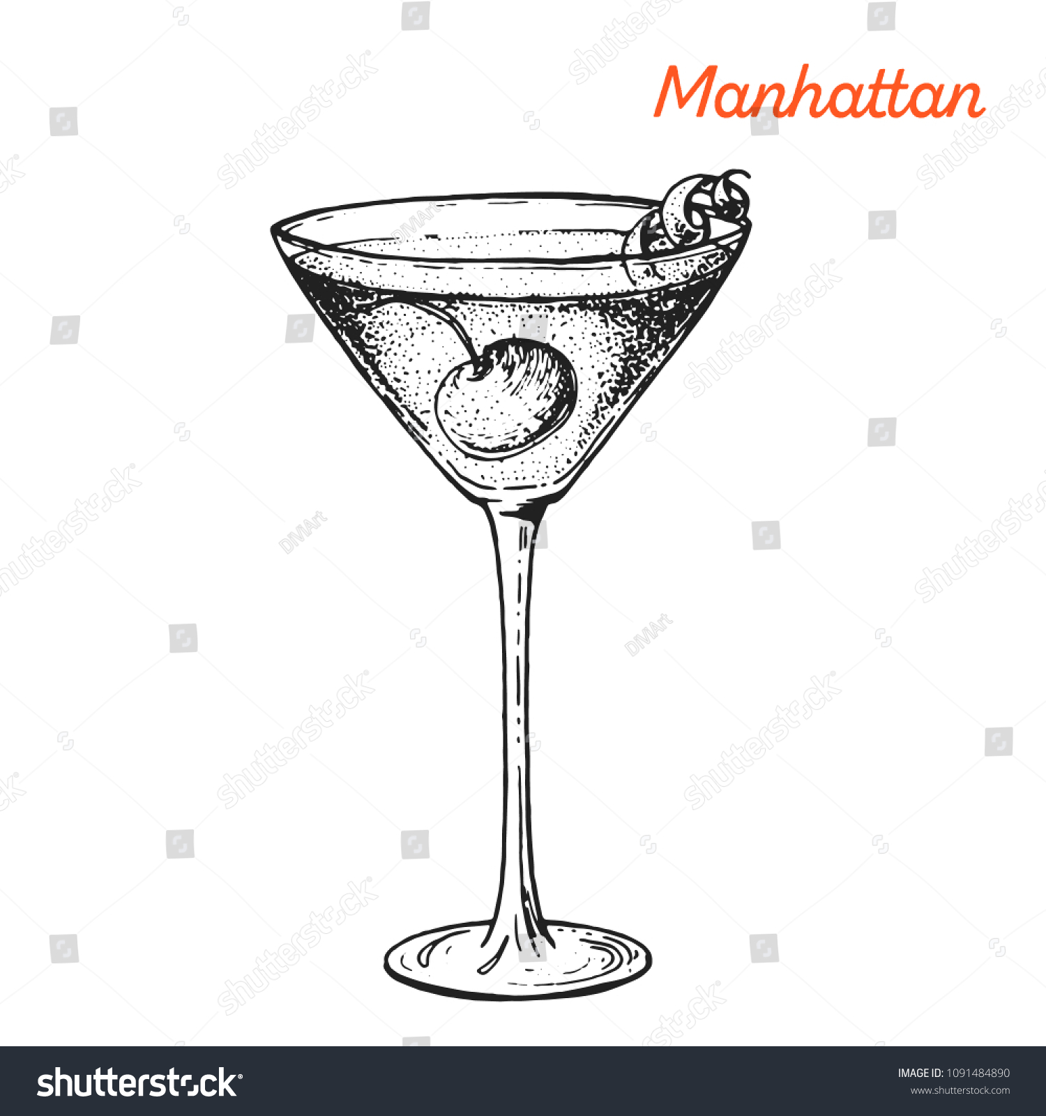 Manhattan Cocktail Illustration Alcoholic Cocktails Hand Stock Vector Royalty Free 1091484890